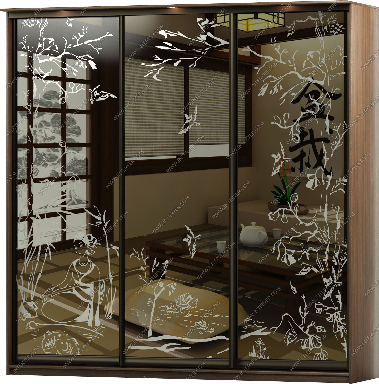 шкафы купе с рисунками на зеркалах фото невооруженным взглядом видно